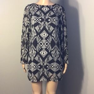 FIRE LOS ANGELES BLACK SILVER BOATNECK MINI DRESS